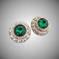 Vintage clip earrings emerald rhinestone