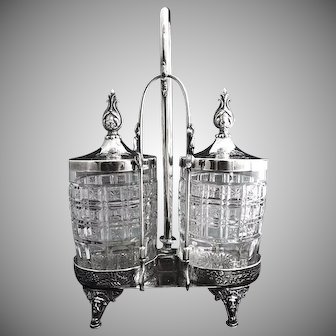 Antique pickle castor double jar embossed silver stand c. 1877