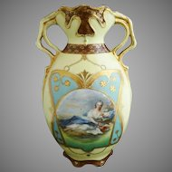 Antique Prussia portrait vase Reclining Lady St. Killian mark Oscar Schlegelmilch