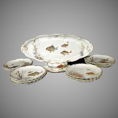 Antique porcelain fish set by Rosenthal Versailles pattern complete
