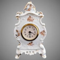 Antique porcelain clock cherubs Victoria Austria German c. 1891
