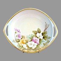 Antique Vienna Austria porcelain bowl Spring flowers gold  c. 1900