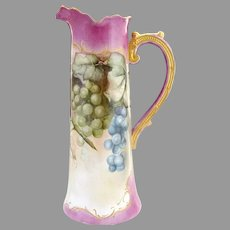 Art Nouveau wine tankard hand painted Willets Belleek c. 1900