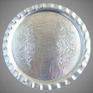 Canterbury Arts aluminum serving tray floral design c. 1940s