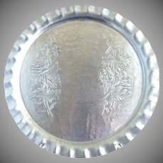 Canterbury Arts aluminum serving tray floral design c. 1940s