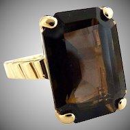 Vintage amber rhinestone ring emerald cut size 5