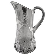 Antique cut glass lemonade pitcher etched roses