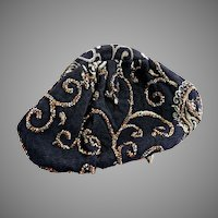 Vintage clutch purse embroidered copper beading