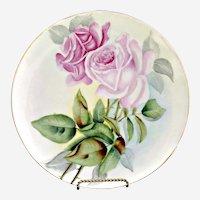 Heirloom porcelain plate pink hand painted roses Austria c.  1900
