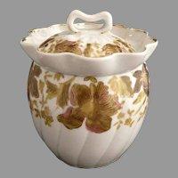 Marx Gutherz sugar bowl gold over hand painting Austria porcelain c. 1890s