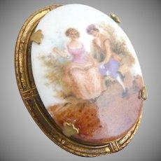 Victorian revival copper porcelain brooch 18th C. scene