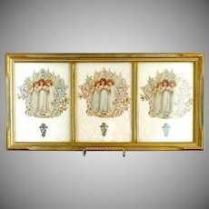 Vintage Easter prints Angels original frame