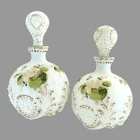 Antique Dithridge glass vanity bottles hand enameled