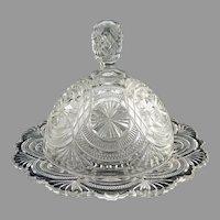 Bryce Higbee glass butter dish Banquet c. 1905 EAPG