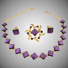 Vintage necklace brooch earrings amethyst stones c. 1940s