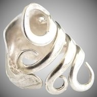 Vintage silver spoon ring pierced rose band