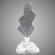 Czechoslovakia cut glass perfume bottle Art Deco