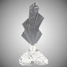 Czechoslovakia cut glass perfume bottle Art Deco