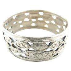 Antique sterling ring pierced Art Nouveau
