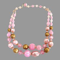 Vintage pink beaded necklace gold double strand West Germany