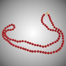 Vintage necklace red bead strand Trifari