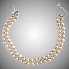 Vintage faux pearl choker necklace rhinestone closure bride wedding