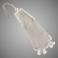 Art Deco mesh purse Venetian lace trim jeweled clasp Whiting Davis