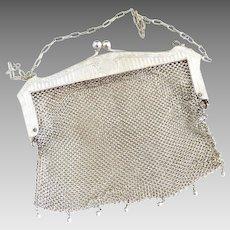 Edwardian German Silver mesh purse bead fringe c. 1910