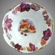 ES Prussia fruit bowl gold trim cut cantaloupe