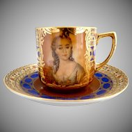 Antique gold filled portrait cup Hutschenreuther Austria