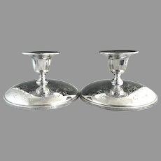 Heirloom plate silver taper candle sticks by Oneida Silver