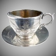 Antique Christmas silver plate mustache cup c. 1891