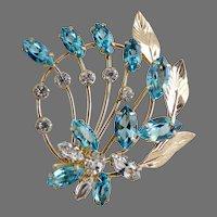 Vintage Spiffardi brooch ice blue rhinestones 12K gf