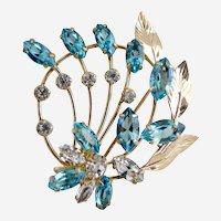 Mid-century Spiffardi brooch ice blue crystal rhinestones 12K gf
