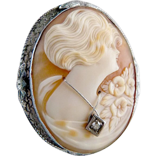 Silver diamond cameo brooch habille carved shell