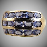 Vintage artisan tanzanite ring 14K gold oval cut