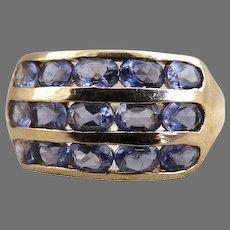 Vintage artisan tanzanite ring 14K gold oval cut