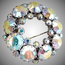 AB rhinestone wreath brooch aurora borealis
