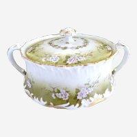 Limoges porcelain cracker jar cherry blossoms c. 1900