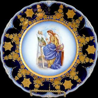 Antique cobalt portrait plate Pope Gosser c. 1902
