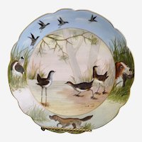 Antique hunting theme bowl hand painted Marx Gutherz Austria