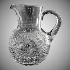 Vintage cut glass juice pitcher c. 1940s