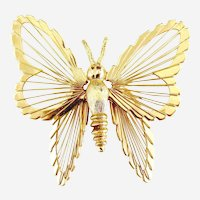 Vintage Monet butterfly brooch piano string wings