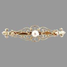 Vintage bar brooch fleur de lis faux pearl