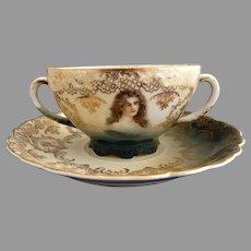 Rosenthal portrait cream soup cup c. 1890s Victorian women