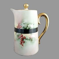 German porcelain syrup pitcher hand painted Christmas Holly