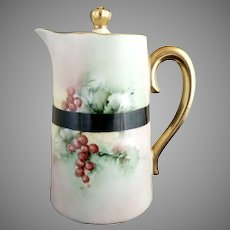 Vintage Christmas syrup pitcher hand painted German porcelain