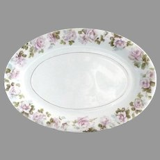 Hermann Ohme platter pink roses restaurant porcelain