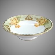 Prussia yellow rose pedestal bowl gold trim