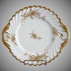 Victorian porcelain cake plate gold flowers German c. 1890s
